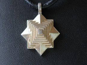 PyraStar™ (Pyramid & Star) Pendant with 7 Tiers in Polished Gold Steel