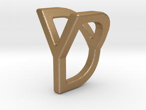 Two way letter pendant - DY YD in Matte Gold Steel