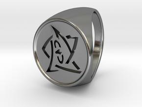 Elder Sign Ring Size 10.5 in Polished Silver