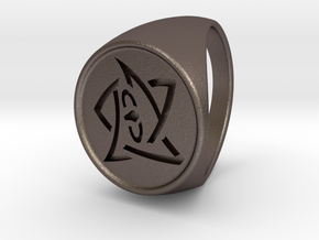 Elder Sign Ring Size 10.5 in Polished Bronzed Silver Steel