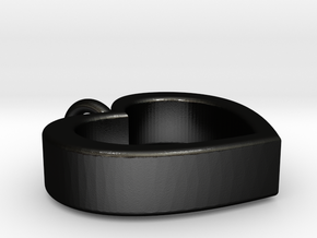 Heart Necklace 1 in Matte Black Steel