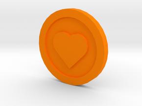 Love Coin in Orange Processed Versatile Plastic
