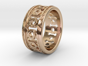 MEN'S LATTICE RING SIZE 10 in 14k Rose Gold Plated Brass