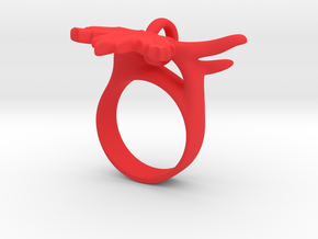 Maple Leaf Charm Ring in Red Strong & Flexible Polished: 5 / 49