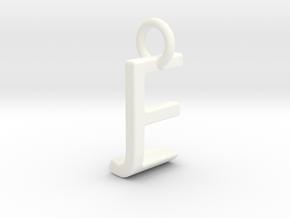 Two way letter pendant - EJ JE in White Processed Versatile Plastic