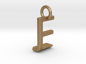 Two way letter pendant - EJ JE in Matte Gold Steel