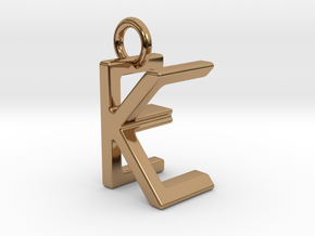 Two way letter pendant - EK KE in Polished Brass