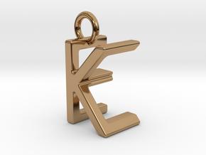 Two way letter pendant - EK KE in Polished Brass