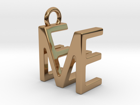 Two way letter pendant - EM ME in Polished Brass