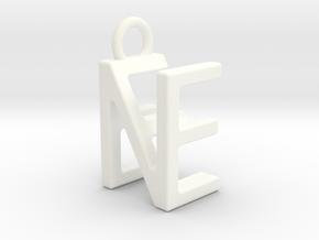 Two way letter pendant - EN NE in White Processed Versatile Plastic