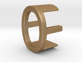Two way letter pendant - EO OE in Matte Gold Steel