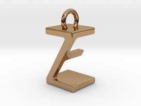 Two way letter pendant - EZ ZE in Polished Brass