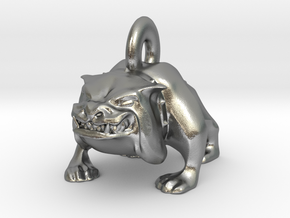 Bulldog Pendant in Natural Silver