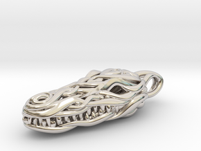 the Crocodile Head Pendant in Rhodium Plated Brass