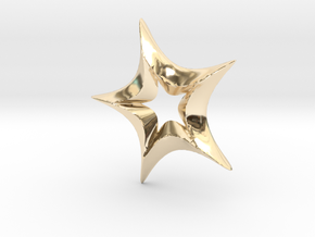 Star In A Star Spikey Round in 14k Gold Plated Brass