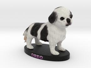 Custom Dog Figurine - Oreo in Full Color Sandstone