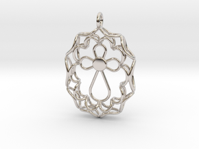 Pendant With Cross in Rhodium Plated Brass