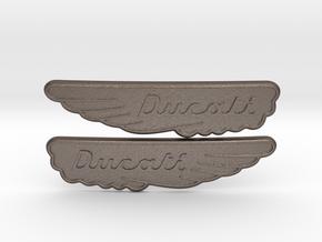 Ducati Scrambler Tank Badge in Polished Bronzed Silver Steel
