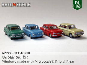 SET 4x NSU (N 1:160) in Smooth Fine Detail Plastic