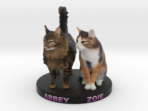 Custom Cat Figurine - Abbey and Zoie in Full Color Sandstone