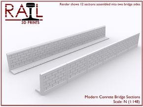 12 Concrete Bridge Sections - N Scale in Frosted Ultra Detail
