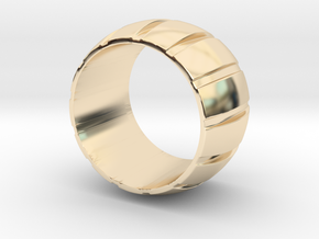 Smoothed Gear Ring - Size 8.5 in 14k Gold Plated Brass