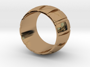 Smoothed Gear Ring - Size 8.5 in Polished Brass