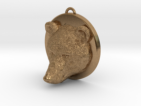 Bear Face Necklace in Natural Brass