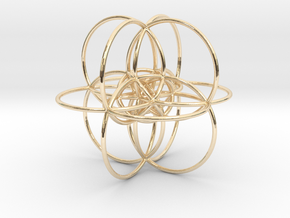 24-cell Stereographic projection, large in 14k Gold Plated Brass