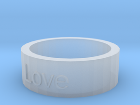 """Love"" Ring in Smooth Fine Detail Plastic"