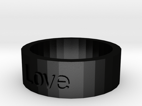 """Love"" Ring in Matte Black Steel"