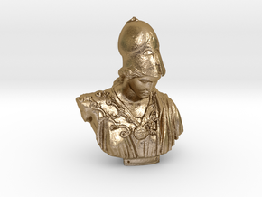 Bust of Athena of Velletri, goddess of technology in Polished Gold Steel