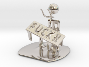 Meme flip a table in Rhodium Plated Brass