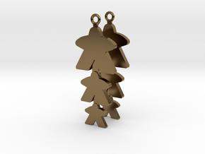 "Meeple Earrings ""threeple"" in Polished Bronze"