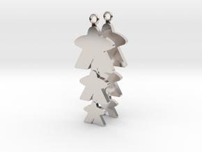 "Meeple Earrings ""threeple"" in Rhodium Plated Brass"