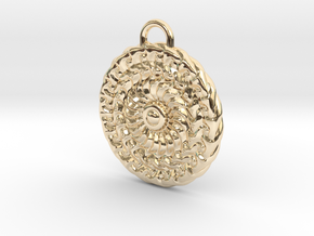 Sun Mandala Medalion  in 14k Gold Plated Brass