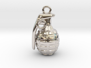 The Grenade Pendant in Rhodium Plated Brass