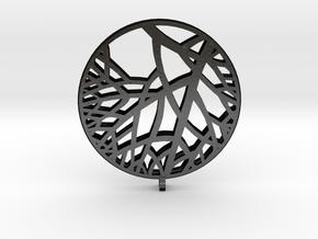 Circle of Tree Earrings in Matte Black Steel