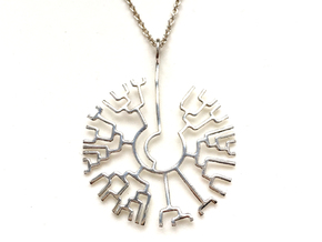 Phylogenetic Tree pendant: science jewelry in Rhodium Plated Brass