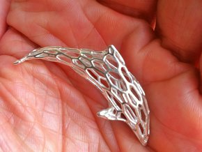 Shapeways-Silver-Dolphin-Curved-MM1 in Raw Silver