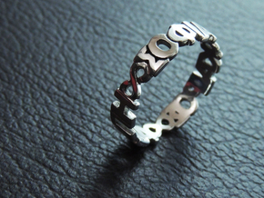 "Ring ""Agape Sofia Kairos"" Size 10.5 in Rhodium Plated Brass"