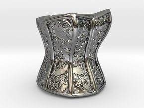 Victorian Damask Corset, c. 1860-68 in Fine Detail Polished Silver