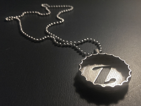 Bottle Cap Pendant (Z) in Polished Silver