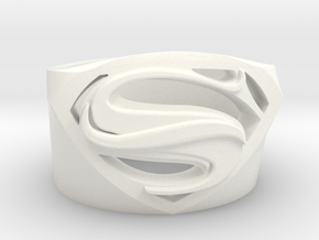 SuperManRIng - Man Of Steel Size US10 in White Processed Versatile Plastic