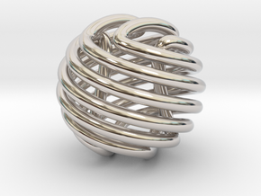 Figure-8 knot sphere in Rhodium Plated Brass