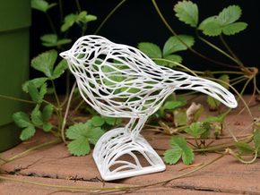 Voronoi Songbird in White Strong & Flexible Polished