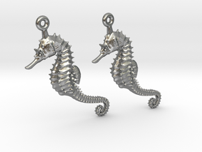 Sea Horse Earrings in Natural Silver