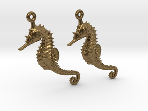 Sea Horse Earrings in Natural Bronze