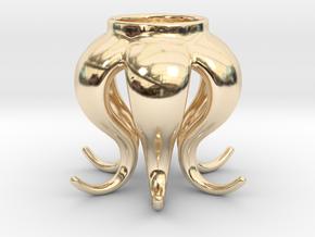 Octopus tea light in 14k Gold Plated Brass