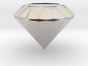 Diamond in Rhodium Plated Brass